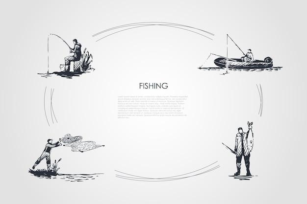 Hand gezeichnete cicle des fischens