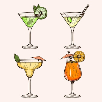Hand gezeichnete cocktail-sammlung