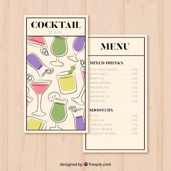 Hand gezeichnete cocktailmenüschablone