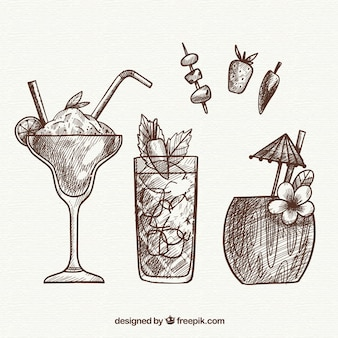Hand gezeichnete cocktailsammlung mit flüchtiger art