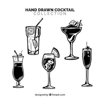 Hand gezeichnete cocktailsammlung