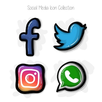 Hand gezeichnete Comic-Stil Social Media Icon Collection