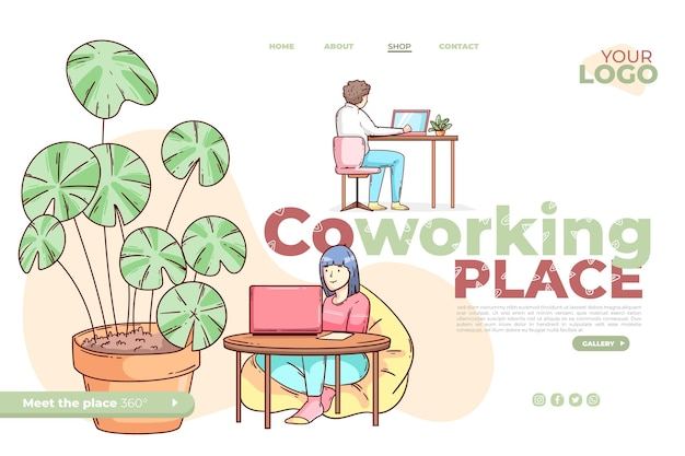 Hand gezeichnete coworking-landingpage-vorlage