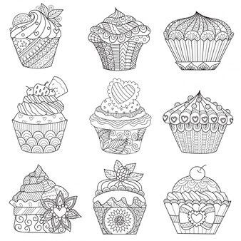 Hand gezeichnete cupcake-kollektion