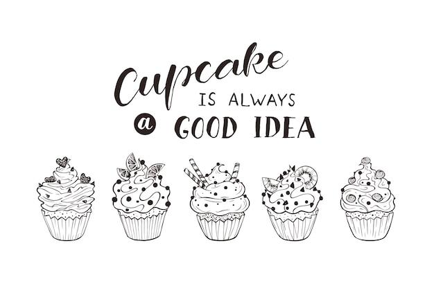 Hand gezeichnete cupcakes