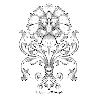 Hand gezeichnete dekorative Blume