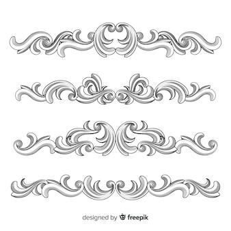Hand gezeichnete dekorative blumengrenzen