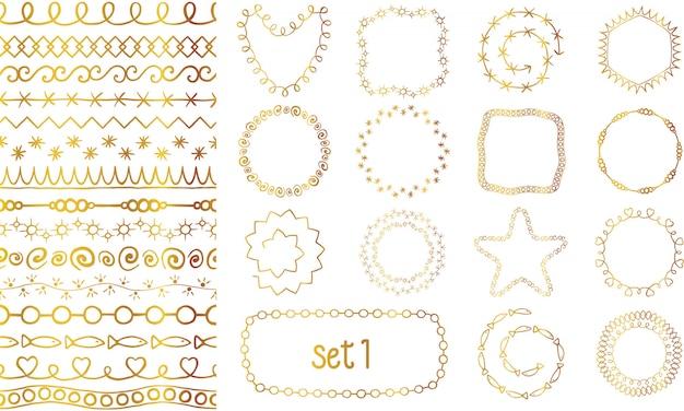 Hand gezeichnete dekorative bürsten der goldenen steigung eingestellt.