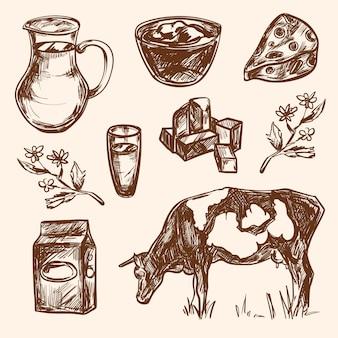 Hand gezeichnete dekorative ikonensätze der milchprodukte