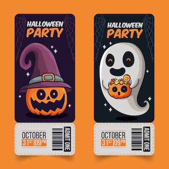 Hand gezeichnete design halloween tickets