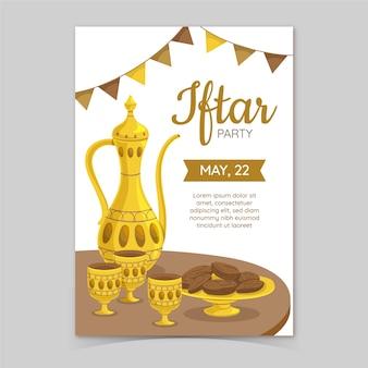 Hand gezeichnete design iftar einladung