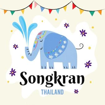 Hand gezeichnete design-songkran-feier