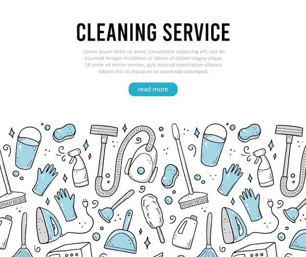 Hand gezeichnete design-vorlage von reinigungsgeräten schwamm vakuum-spray besen eimer doodle skizze stil clean element von digitalen pinsel gezeichnet illustration für icon frame hintergrund banner