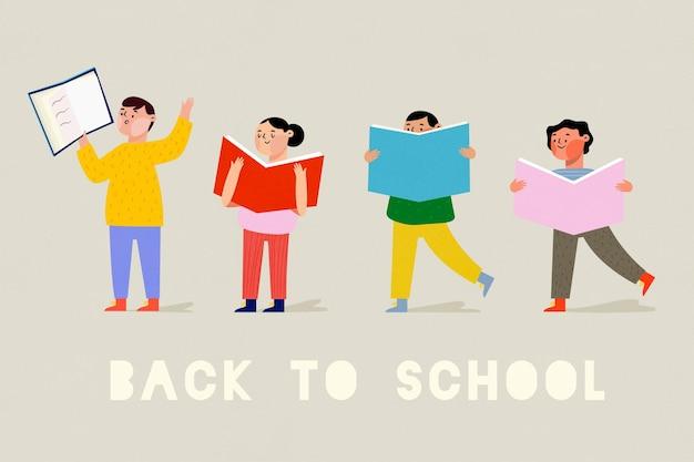 Hand gezeichnete designkinder zurück zur schule