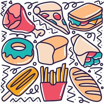 Hand gezeichnete desserts menü gekritzel set mit symbolen und design-elementen