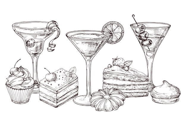Hand gezeichnete desserts und weiche cocktails auf weißem hintergrund