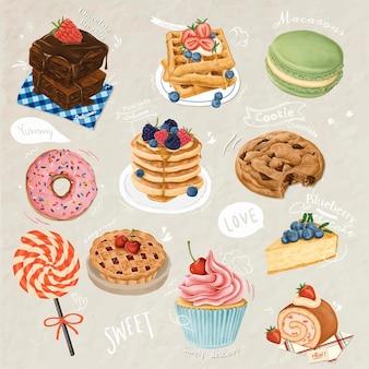Hand gezeichnete dessertsammlung