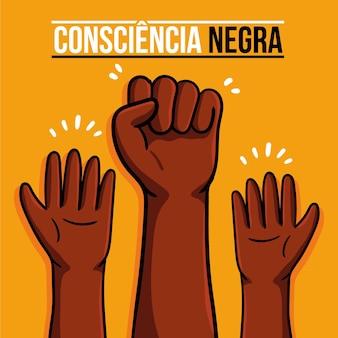 Hand gezeichnete dia da consciencia negra