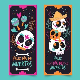 Hand gezeichnete dia de muertos banner vorlage