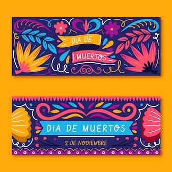Hand gezeichnete dia de muertos banner