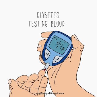 Hand gezeichnete diabetes-blutprobe