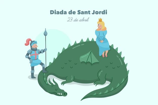 Hand gezeichnete diada de sant jordan illustration mit drachen und prinzessin