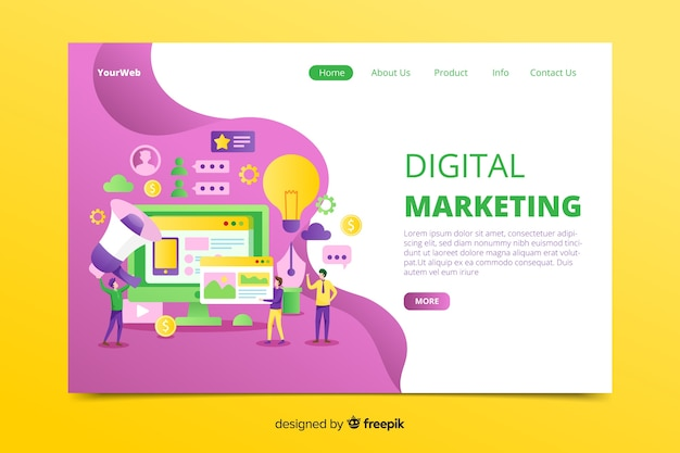 Hand gezeichnete digitale marketing-landingpage