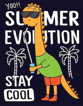 Hand gezeichnete dinosaurier für t-shirt druck