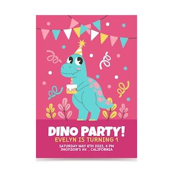 Hand gezeichnete dinosauriergeburtstagseinladungsschablone