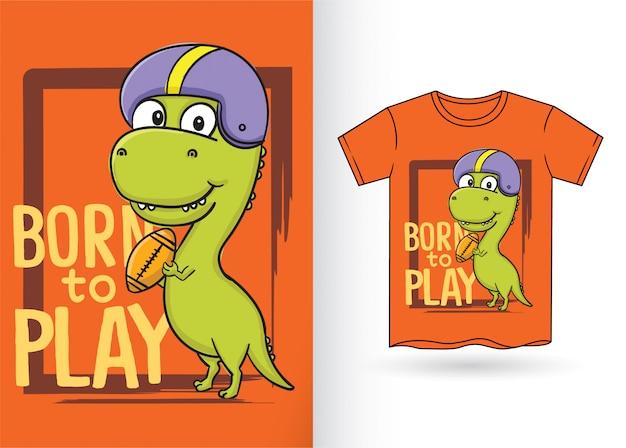 Hand gezeichnete dinosaurierkarikatur für t-shirt