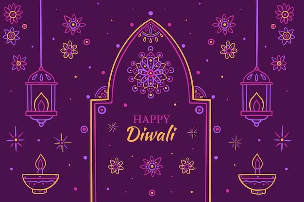 Hand gezeichnete diwali-illustration