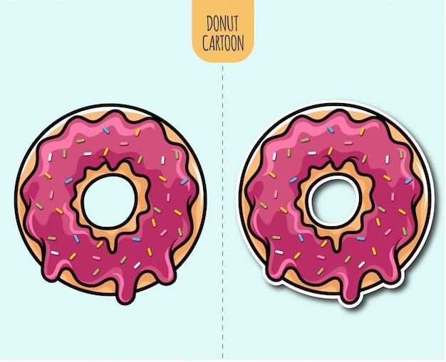 Hand gezeichnete donutkarikaturillustration mit aufkleber