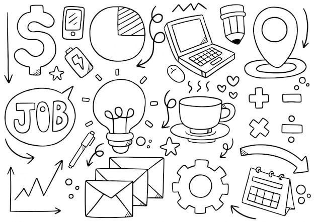 Hand gezeichnete doodle elemental business
