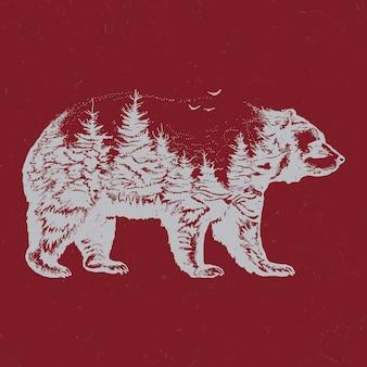 Hand gezeichnete doppelbelichtungsillustration der bärensilhouette.