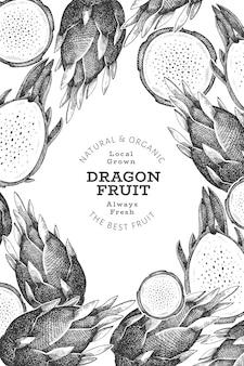 Hand gezeichnete drachenfrucht-entwurfsschablone. bio-illustration für frische lebensmittel. retro pitaya frucht.