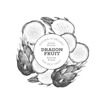 Hand gezeichnete drachenfruchtschablone. bio-illustration für frische lebensmittel. retro pitaya obst banner.