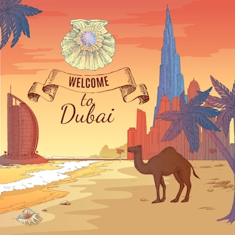 Hand gezeichnete dubai illustration