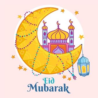 Hand gezeichnete eid al-fitr - eid mubarak illustration