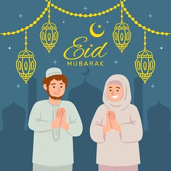 Hand gezeichnete eid al-fitr illustration