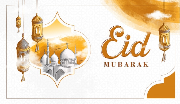 Hand gezeichnete eid mubarak illustration