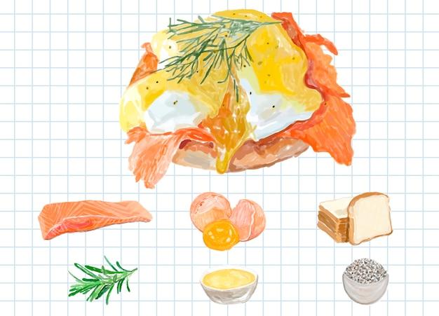 Hand gezeichnete eier benedict-aquarellart