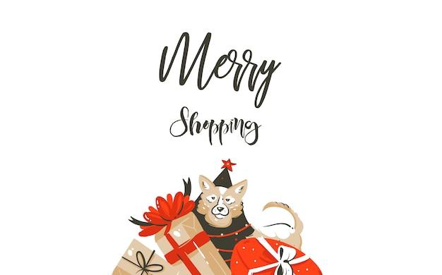 Hand gezeichnete einfache weihnachtseinkaufszeitkarikaturgrafik einfache grußillustrationslogoentwurf mit hund, viele überraschungsgeschenkboxen und kalligraphie-fröhliches einkaufen lokalisiert auf weißem hintergrund.