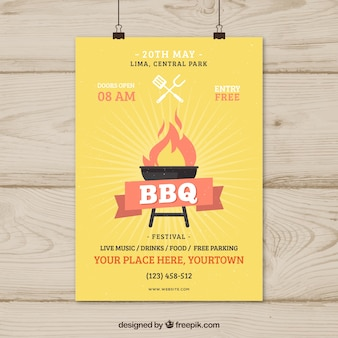 Hand gezeichnete einladung zum grill