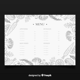 Hand gezeichnete elegante restaurantmenüschablone