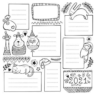Hand gezeichnete elemente des aufzählungsjournals für notizbuch, tagebuch und planer. satz gekritzelrahmen, fahnen und blumen- und weihnachtselemente lokalisiert auf weißem hintergrund.