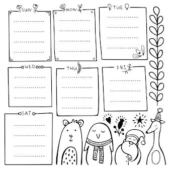 Hand gezeichnete elemente des aufzählungsjournals für notizbuch, tagebuch und planer. satz gekritzelrahmen, fahnen und blumenelemente lokalisiert auf weißem hintergrund.