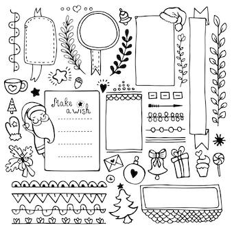 Hand gezeichnete elemente des aufzählungsjournals für notizbuch, tagebuch und planer. satz gekritzelrahmen, fahnen und weihnachtselemente lokalisiert auf weißem hintergrund.