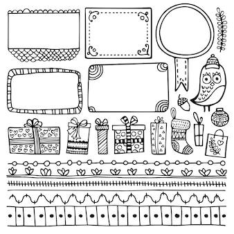 Hand gezeichnete elemente des aufzählungsjournals. satz gekritzelrahmen, fahnen und blumen- und weihnachtselemente lokalisiert