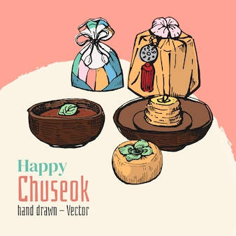 Hand gezeichnete elemente von glücklichem chuseok. mittlerer herbstvollmond-festivalhintergrund.