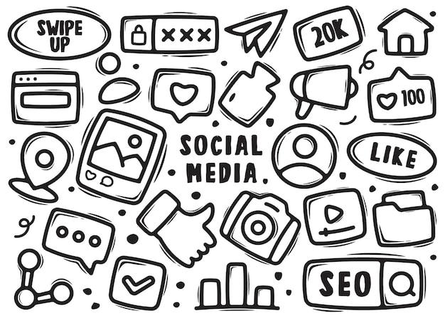 Hand gezeichnete elementkritzeleien der sozialen medien